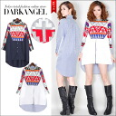 So-called boobs and big silhouette can wear ♪ personality pattern big chat / ladies big silhouette t-shirt pattern stripe long-sleeve long sleeve one-piece DarkAngel / Dark Angel