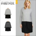 With one piece basic casual code! dockingborderwanpeace / women's one piece borders casual docking one piece long sleeve long sleeve DarkAngel / Dark Angel