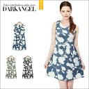 Just wear one fresh face ♪ flower pattern dress / women's one piece floral flower pattern ab06221 mini-big sleeveless spring summer DarkAngel / Dark Angel