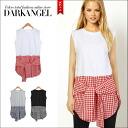 Featured casual design ♪ check Nell t-shirt style tunic / women's flannel shirt gingham tunic tops short-sleeved short sleeve T shirt spring summer DarkAngel / Dark Angel