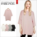 Smoky pastels! 5-Wing rise tops / women's tops sewn loose pastel dusty pastels loose loose 5-sleeve five minutes sleeves short sleeves DarkAngel / Dark Angel