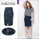 A unique fashionable skirt! G Jean loincloth wind skirt / women's skirt denim G Jean mini-length slit spring summer loincloth DarkAngel / Dark Angel