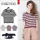 Casual but girly! backlibomboeder T shirt / ladies T shirt short sleeve short sleeve border Ribbon sewn tops spring summer DarkAngel / Dark Angel