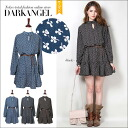 Tiny flower pattern natural ♪ belted flower pattern one piece / ladies one piece long sleeve long sleeve flower ruffle belted mini flare spring summer DarkAngel / Dark Angel