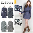 Cute retro ♪ flower pattern shirt dress / women's one piece flower pattern floral shirt pattern mini-length spring summer long sleeves long sleeve DarkAngel / Dark Angel