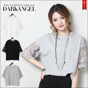 A delicate lace design ♪ sleeves race tops and women's tops short sleeve race cut & sew spring summer DarkAngel / Dark Angel