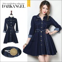 In one fresh code! denimwanpeace / women's denim one piece ab06221 mini-length long sleeves long sleeve spring summer DarkAngel / Dark Angel