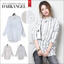 A refreshing stripe shirt! striperogorooseshats / ladies loose shirt long sleeves long sleeve collared striped spring summer DarkAngel / Dark Angel