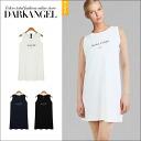 Pretty simple design ♪ embroidery logonorthrybwanpeace / Womens tank top dress mini-length sleeveless logo embroidery spring summer DarkAngel / Dark Angel