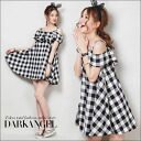 Cute casual code ♪ gingham checkfrerwanpeace / Womens gingham mini length one piece sleeveless spring summer DarkAngel / Dark Angel