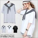 Realistic design ♪ shoulder roll Cardigan style shirt / ladies cut & sew tops short sleeve short-sleeved Cardigan Darangel / Dark Angel