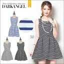 Summer casual style ♪ border northribwampigs / women's one piece borders mini-ab06221 sleeveless DarkAngel / Dark Angel