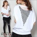 Adult cool ♪ back skin charm sewn / women's tops sewn V neck short-sleeved short-sleeved plain simple DarkAngel / Dark Angel