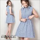 Fresh x girly! stripeshatswanpeace / women's striped one piece mini length short-length shirt sleeveless tank top sleeveless DarkAngel / Dark Angel