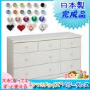 ツマミチョイスチェスト white chest 120 cm width 3-stage ( ARIO ) baby tons children's room children clothing storage Swarovski Crystal kawaii sanitary storage