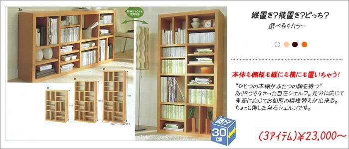 タテヨコ自在のオープン書棚(トラップ)