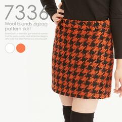 ウール混千鳥柄スカート