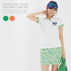 小花柄ポロシャツ&スカートセット