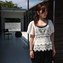 ★ サイレントワース SILENT WORTH ★ new ★ lace embroidery style x-over シフォンフレアースリーブプル ★ iv e2337