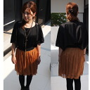 ★Satin material shoulder bijou motif flare sleeve dolman blouse ★ bk