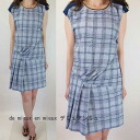 サイレントワース ★ spring summer new ★ handwritten check pattern アシメタック switching one piece ★ light blue system OK spring dress women's fashion spring チュニックワンピ casual tunic maternity solid store Rakuten long-sleeved knit Dolman