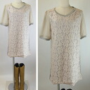 Lace color switching chiffon sleeve one piece ★ ivory