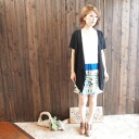 Cardigan style layer color botanical border switchable flower one piece ★ blue