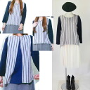 ★ autumn/winter new ★ ★ back slit style switching stripe color pullover ★ Navy series