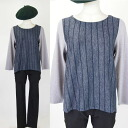 ★ back slit style switching stripe color pullover ★ grey series