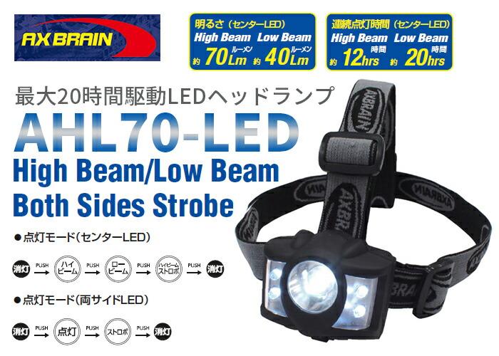 �A�b�N�X�u���[�� LED�w�b�h�����v AHL70-LED