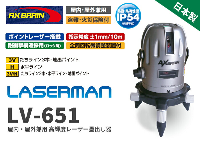 屋内・屋外兼用 高輝度レーザー墨出し器 LV-651