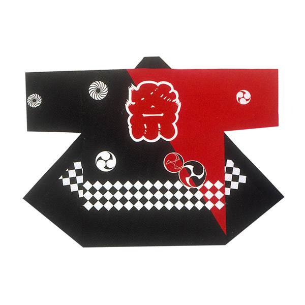 在小孩颜料染色节日祝贺活动短上衣/法被(黑色/红)3号祭文字三足鼎立