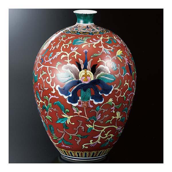 kutani 陶瓷 9 花瓶红色花花纹