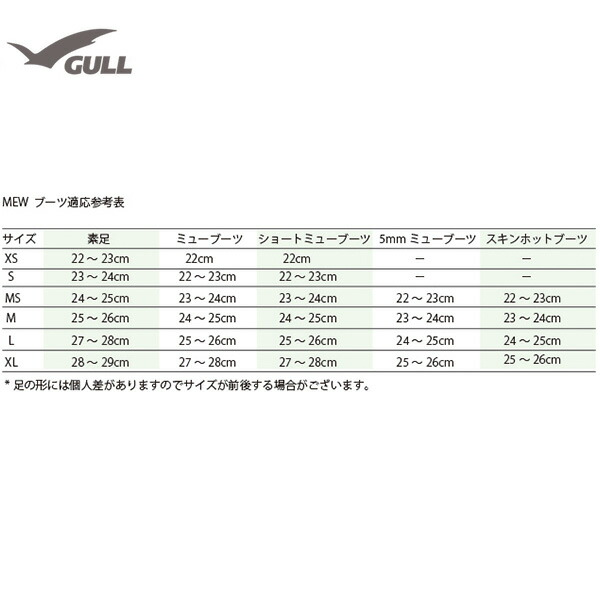 GULL(ガル)SAFEMEW(セイフミュー)K-G-510ブーツサイズ表