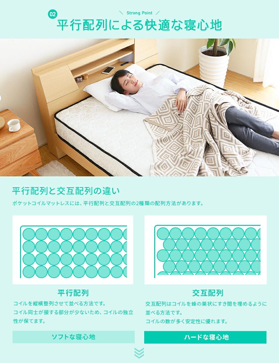 平行配列による快適な寝心地