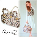 In ニーナミュウ 2-WAY going to tote bags and shoulder bags! Leopard nylon BAG ladies animal print heart a4 commuters