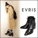 EVRIS (Evers) store lace-up booties women's boots short lace-up heel Black Black enamel Sasaki Aya ayano blog eblis (371511800101)