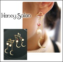 Japanese Brand Play hotel Honey Salon Flexible combination for 4ways!! Crescent Moon earrings pias ear accessories women's pretty cute jewely