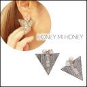 Honey me honey [Honey mi Honey]cotton pearl triangle rivet cotton pearl triangle rivet Lady's pierced earrings pearl bijou mail order blog [14A-HB-06]