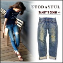 TODAYFUL (today for) LIFE's (life) (reserved) (June-end of stock) Sandy's Denim denim jeans jeans straight damage women's Yoshida Reika Pi # 203 (P-CHAN) blogs (11421403)