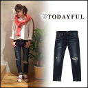 TODAYFUL (today for) LIFE's (life) (reserved) (June-end of stock) New Sandy's Denim denim jeans jeans straight damage women's Yoshida Reika Pi # 203 (P-CHAN) blogs (11421409)