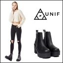 UNIF (UNIF) regular manual store RIVAL BOOT boots short booty thick bottom Womens black leather 2015 SS new import (UWBO-1018)