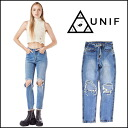 UNIF (UNIF) regular manual store CITED JEAN denim Womens jeans jeans damage straight high-waisted 2015 SS new import (UWSS-1041)