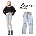 UNIF (UNIF) regular manual shop BILLIE JEANS denim jeans damage straight ladies rollup 2015 SS new import (UWSS-1042)