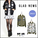 In the glad News (GLAD NEWS) mail-order reversible deals! Reversible Ma-1 ladies ' outerwear blouson jacket military jacket solid with Camo skull (1042200660)