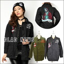 A difference is turned on by グラッドニュース (GLAD NEWS) Bucks tile! I sell army jacket Lady's outer military long length scull skeleton (1042200680) with the emblem by mail order (immediate delivery)