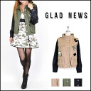 I am selected with グラッドニュース (GLAD NEWS) mail order sleeve leather coolly! Stands military JK Lady's outer jacket military jacket shirt jacket emblem (1042202440)