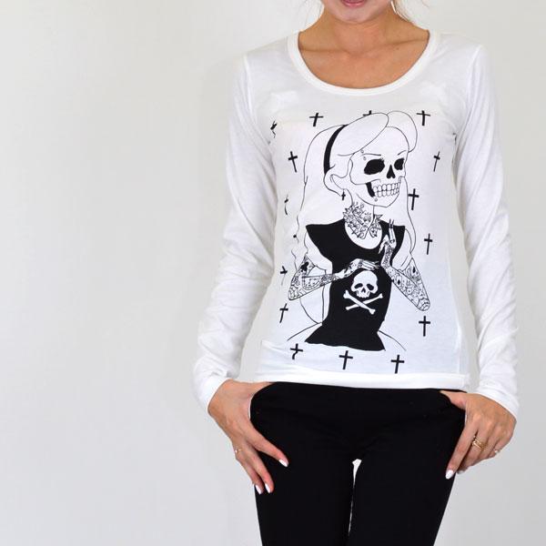 邮购 10 th 纹身女孩公主长 t 恤罗恩 t 女士长袖衬衫骷髅骨架