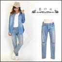 (goa) women's store 13 oz damagedenimboys pants denim straight boy friend denim jeans damage crash (31515028)