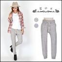 (goa) ladies mail order cotton hemp Heather back pants sweatpants West GM gray beige rib (31515051)
